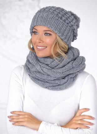 Зимний комплект,шапка,шарф женский,вязаный,очень теплый,серый,...