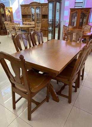 Меблі великий стіл столовий і 6 кріслами(стільці) з дерева
