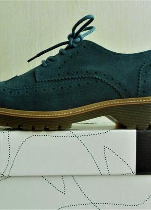 Туфли броги bronx замшевые синие