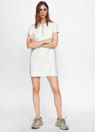 Белое теплое платье zara