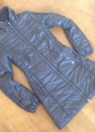 Женская длиная куртка пальто adidas р. xs + в подарок респират...