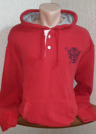 Яркое тёплое худи красного цвета crew clothing, 💯 оригинал, мо...