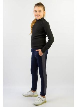 Брюки для девочки темно синие с карманами,
