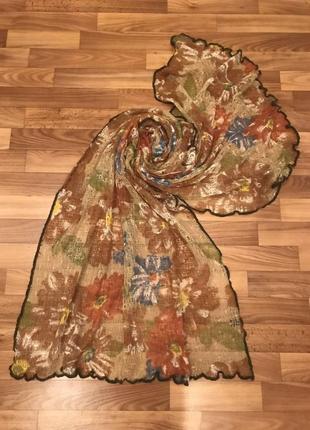Шарф,шаль, палантин шелковый в цветочный принт.