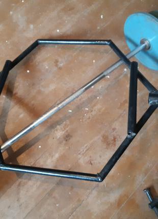 Гриф штанги (trap bar) для станової тяги; 8,5 кг; 70х63см