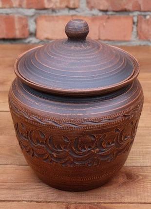 """Жаровня """"Конус"""" 4л из красной глины - гончарная посуда, керамика"""