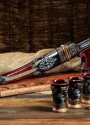 Подарочный набор кинжал на деревянной подставке, крутой подаро...