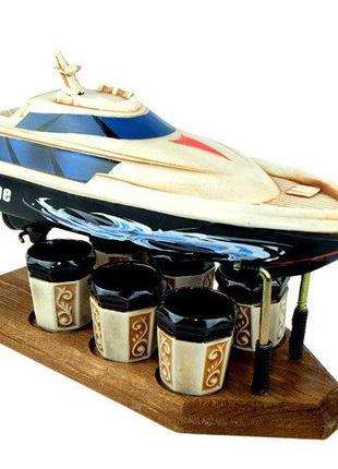 Яхта на деревянной подставке, подарочный набор для спиртного