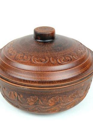 Жаровня 3л из красной глины, посуда для приготовления в духовке
