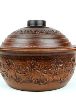 Жаровня 4л из красной глины, гончарная посуда, красная керамика