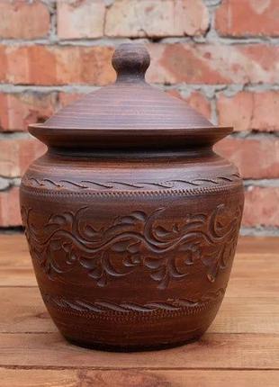 """Жаровня """"Конус"""" 3л из красной глины, гончарная посуда, керамика"""