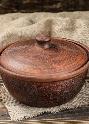 Жаровня конус красная керамика 2,2 л резная, гончарная посуда ...