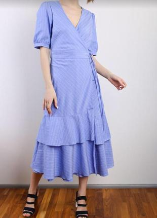 Голубое платье на запах and less