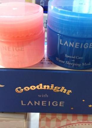 Набор ночных масок для лица и 💋 губ laneige