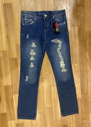 Рваные джинсы на девочку 11-13 лет