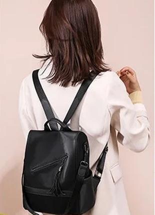 Рюкзак антивор. женский рюкзак черный. женская сумка нейлон. ж...