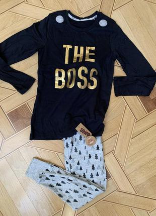 George пижама xs-s-m the boss, 13-14 лет, 158-164 см, елки, ел...