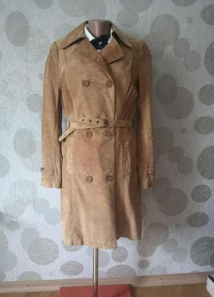 Великолепное  стильное  замшевое пальто тренч плащ soft grey
