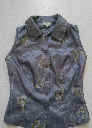 Блуза рубашка серебристо - серого цвета