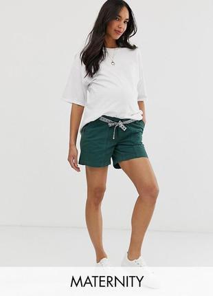 Хлопковые шорты для беременных с лентой mamalicious