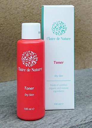 Тоник, тонер для лица для сухой кожи claire de nature