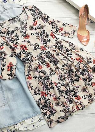 Платье натуральное в цветочный принт