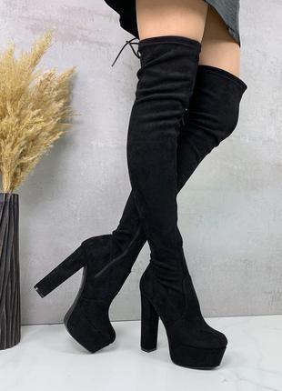 Черные ботфорты деми женские сапоги на высоком каблуке