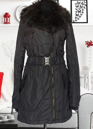 Куртка парка с асимметричной застежкой и меховым воротником orsay