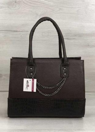 Женская классическая каркасная сумка шоколадного цвета с цепочкой