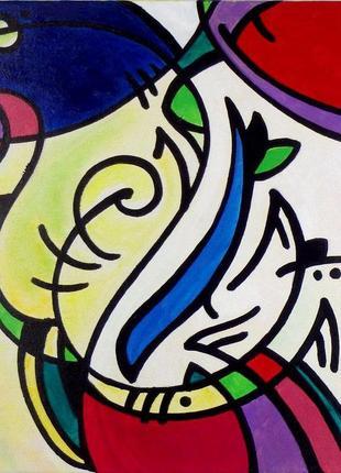 Картина абстрактная абстракция акрил холст узоры витраж живопи...