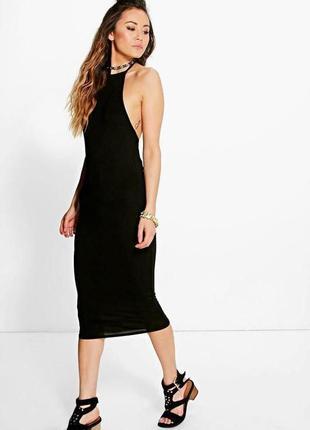 Черное платье обтягивающие карандаш миди пляжное