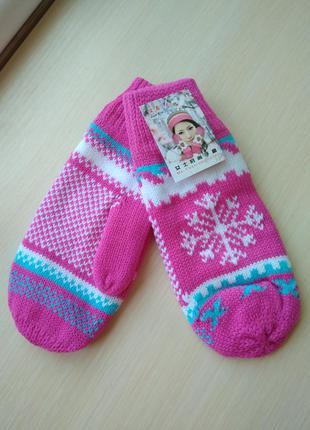 Распродажа! варежки перчатки зимние женские яркие вязаные теплые