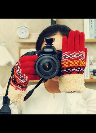 Распродажа! варежки перчатки зимние женские с мехом вязаные на...