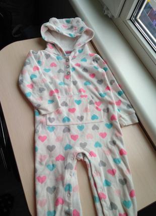 Carter's теплый флисовый слип ромпер пижама человечек для сна ...