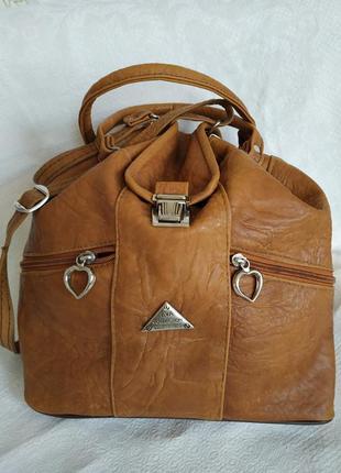 Сумка-хобо сумка-мешок верблюжьего цвета экокожа