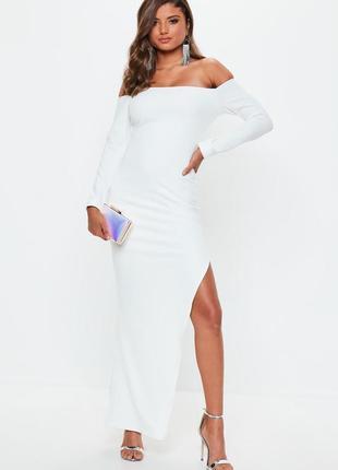 Ликвидация товара 🔥  вечернее платье бандо с рукавами белое