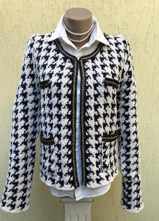 Трикотаж жакет,пиджак,гусиная лапка,стиль шанель