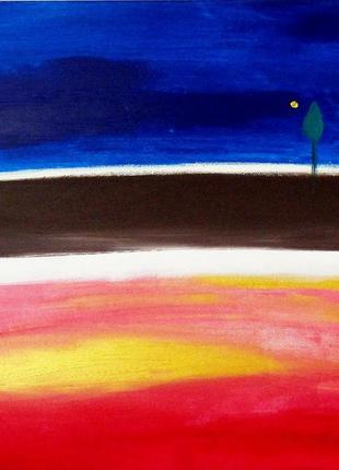 Дары. Картина абстракция, сине-красная квадратная абстрактная ...