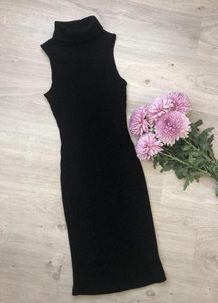 Платье рибана с люрексовой нитью, платье миди рубчик облегающе...