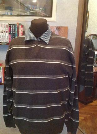Хлопковый пуловер в полоску бренда oskar, р. 56-58