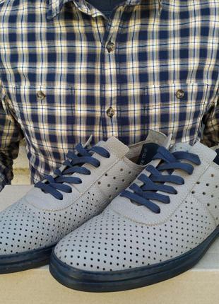 Кожаные мужские мокасины KADAR Summer GREY.