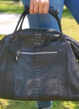 Дорожная сумка из натульной кожи питона