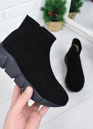 Ботинки, кроссовки, кеды черные на черной подошве натуральная ...