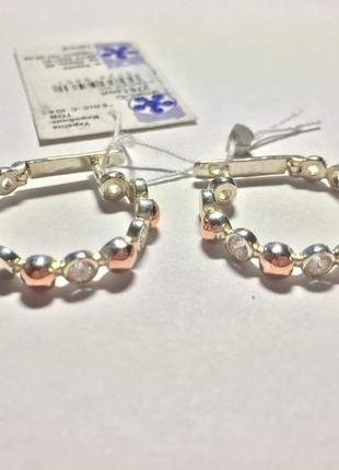 Серебряные серьги кольца с золотой напайкой и цирконами