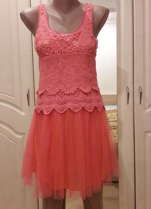 Платье сетка ажурное вязаное кружево