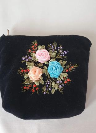 Винтажная косметичка ручная работа вышивка лентами