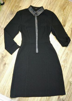 Черное платье с нат. кожаными вставками