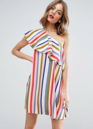 Платье сарафан на одно плечо волан с воланами полоска полосато...