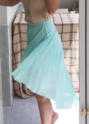 Юбка шифон бирюзовая плиссированная голубая с хвостом oodji