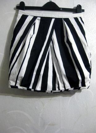 Мини юбка тюльпан asos в полоску белая чёрная короткая